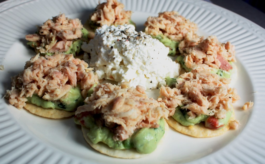 Tuna & Guacamole on Wasabi Crackers